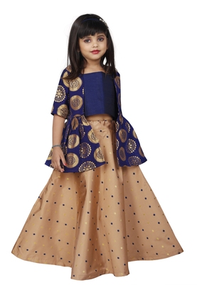 Kids Brown Cotton Silk Lehenga Choli For Girls