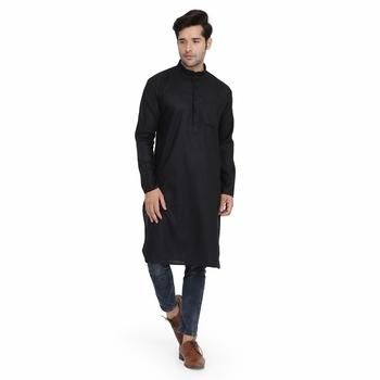 Black plain silk kurta
