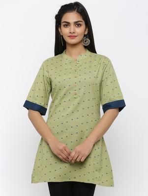 Green printed cotton short-kurtis