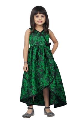 Kids Long Designer Green Frock Dress