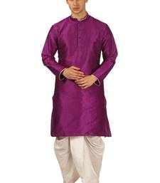 Purple plain silk dhoti-kurta