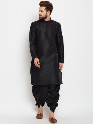 Black plain polyester dhoti-kurta