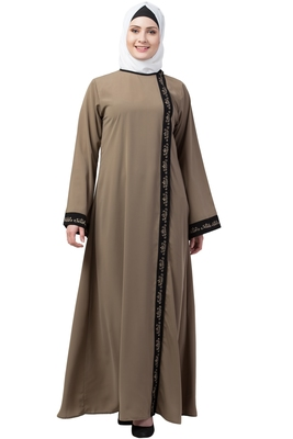 MRC Women Front Open Abaya With Embroidery Work- Beige-Black