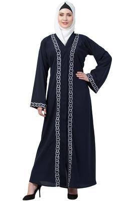 MRC Women Navy blue Front open embroidery abaya