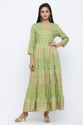 Green printed rayon kurtas-and-kurtis