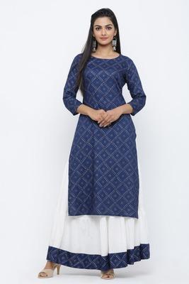 Blue printed rayon kurta-sets