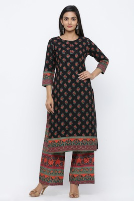 Black printed cotton kurta-sets