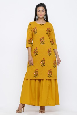Yellow printed cotton kurta-sets