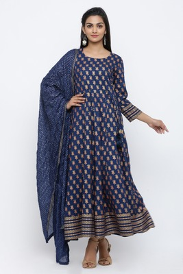 Blue printed rayon kurta-sets