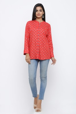 Red printed rayon tops