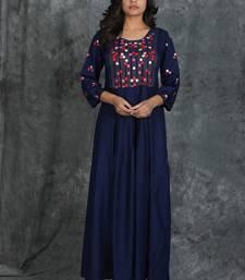 Navy-blue woven rayon long-kurtis