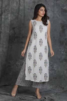 White printed cotton cotton-kurtis