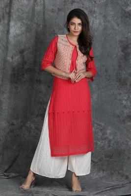 Pink woven cotton cotton-kurtis