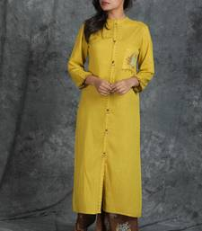 Yellow embroidered cotton cotton-kurtis