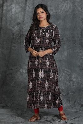 Black embroidered rayon long-kurtis