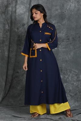 Navy-blue woven cotton cotton-kurtis