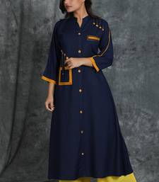 Navy-blue woven cotton cotton-kurtis