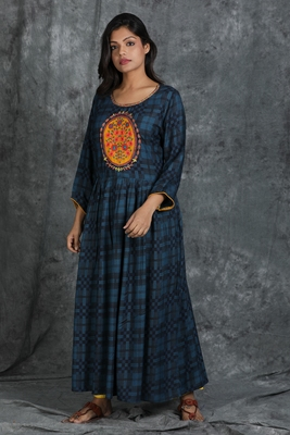 Navy-blue embroidered rayon long-kurtis