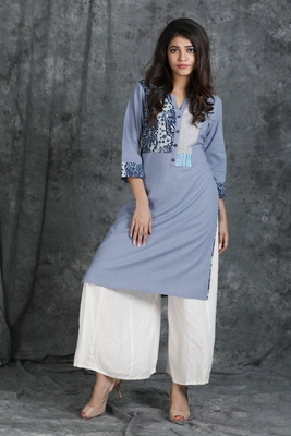 Grey embroidered cotton cotton-kurtis