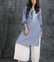 Grey embroidered cotton cotton-kurtis