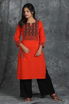 Orange woven cotton cotton-kurtis