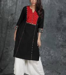Black woven cotton cotton-kurtis