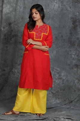Red woven cotton cotton-kurtis