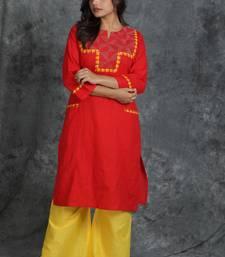 Red woven cotton cotton-kurtis