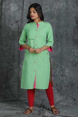 Light green plain cotton cotton-kurtis