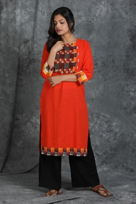 Orange woven cotton cotton-kurtis