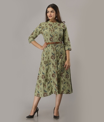 Women's  Green Cotton Flex Printed A-Line Kurta