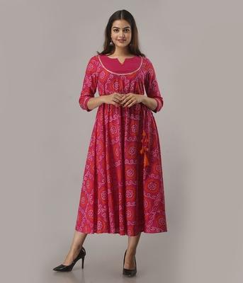 Women's  Pink Cotton Bandhej Printed Anarkali Kurta