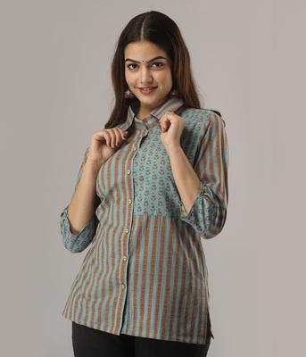 Women's  green Cotton Geometric Printed Shirt