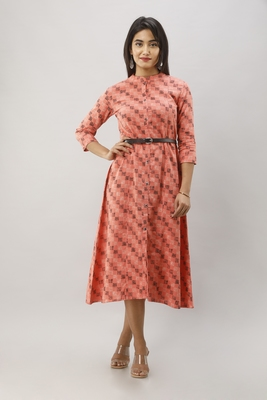 Women's Peach Cotton Flex Geometric Printed A-Line Kurta