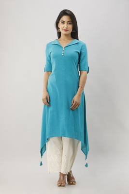 Women's Teal Cotton Slub Solid Assymetric Kurta
