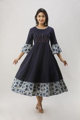 Women's Navy Blue Cotton Flex Anarkali Floral Printed Kurta