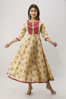 Women's Beige Cotton Anarkali Floral Printed Kurta