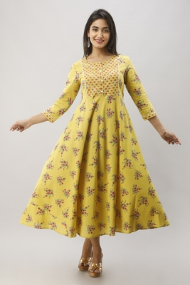 Women's Mustard Cotton Anarkali Floral Printed Kurta