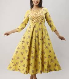 Women's Mustard Cotton Anarkali Floral Printed Kurta