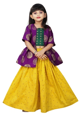 Girls Yellow Lehenga Choli Dress