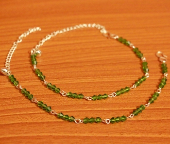 Green Crystal Beaded Silver Plated Anklets