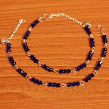 Blue Crystal Beaded Silver Plated Anklets