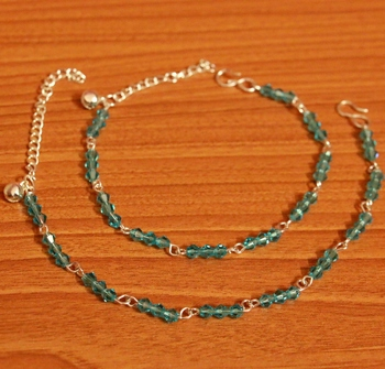 Aqua Blue Crystal Beaded Silver Plated Anklets