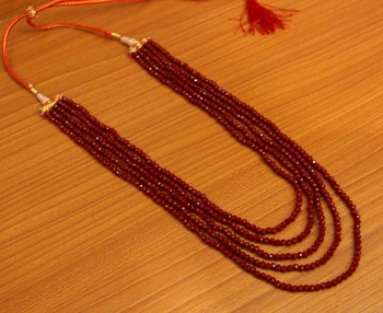 Maroon Colour 5 Line Swarowski Necklace