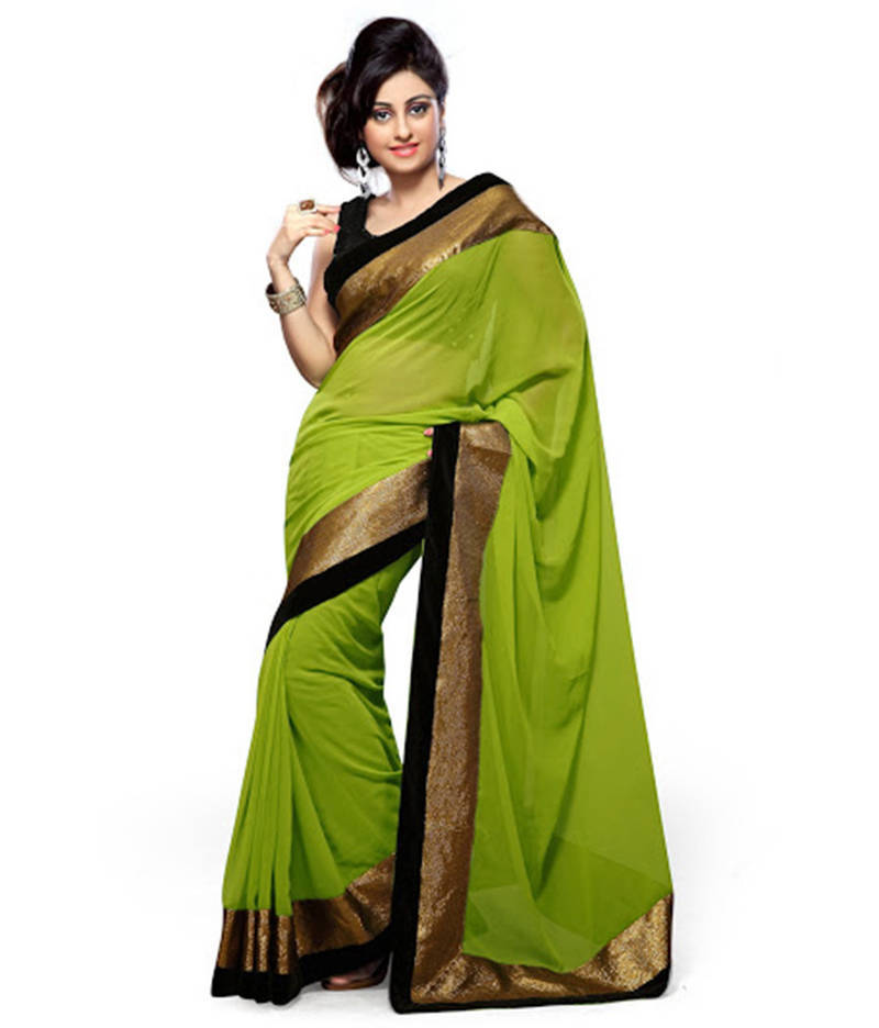 Buy Green Embroidered Georgette Saree With Blouse Sarika
