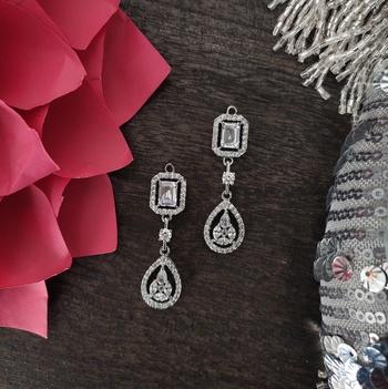 Silver Faux Diamond Victorian Earrings