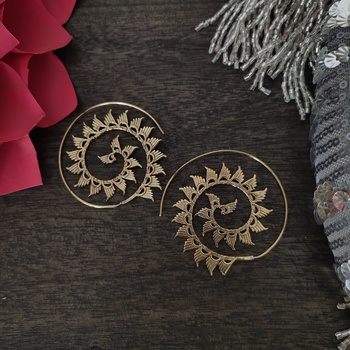 Oxidised Gold Tribal Spiral Earrings