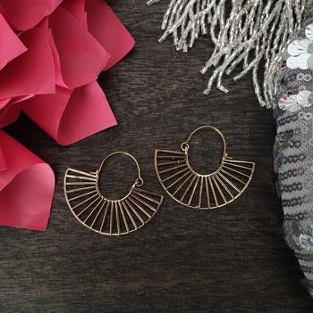 Gold Plated Hoop Embossed Earrings