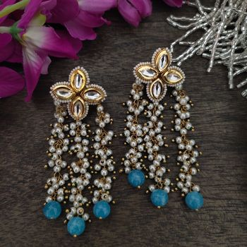 Turquoise Gold Plated Pearl And Kundan Earrings
