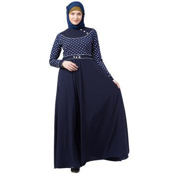 Designer Polka Dotted Umbrella Abaya- Navy Blue